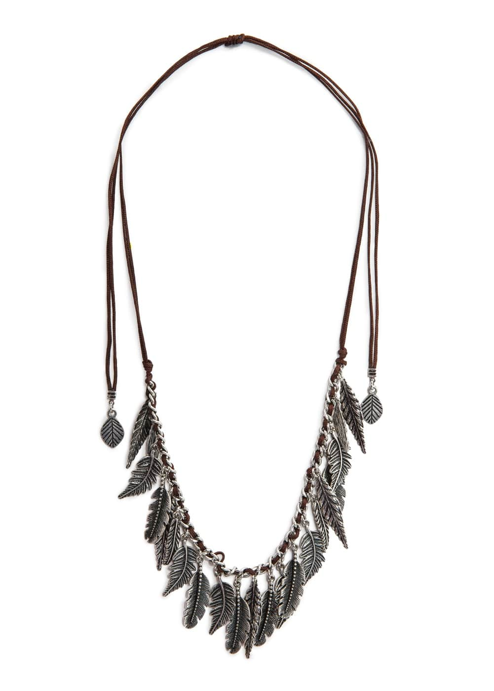 Feather cord necklace
