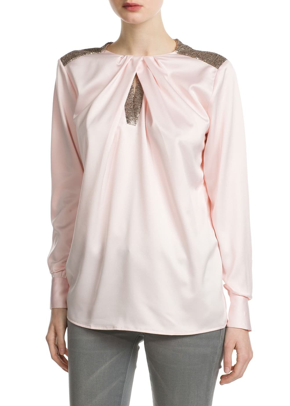 Sequin satin shirt | MANGO