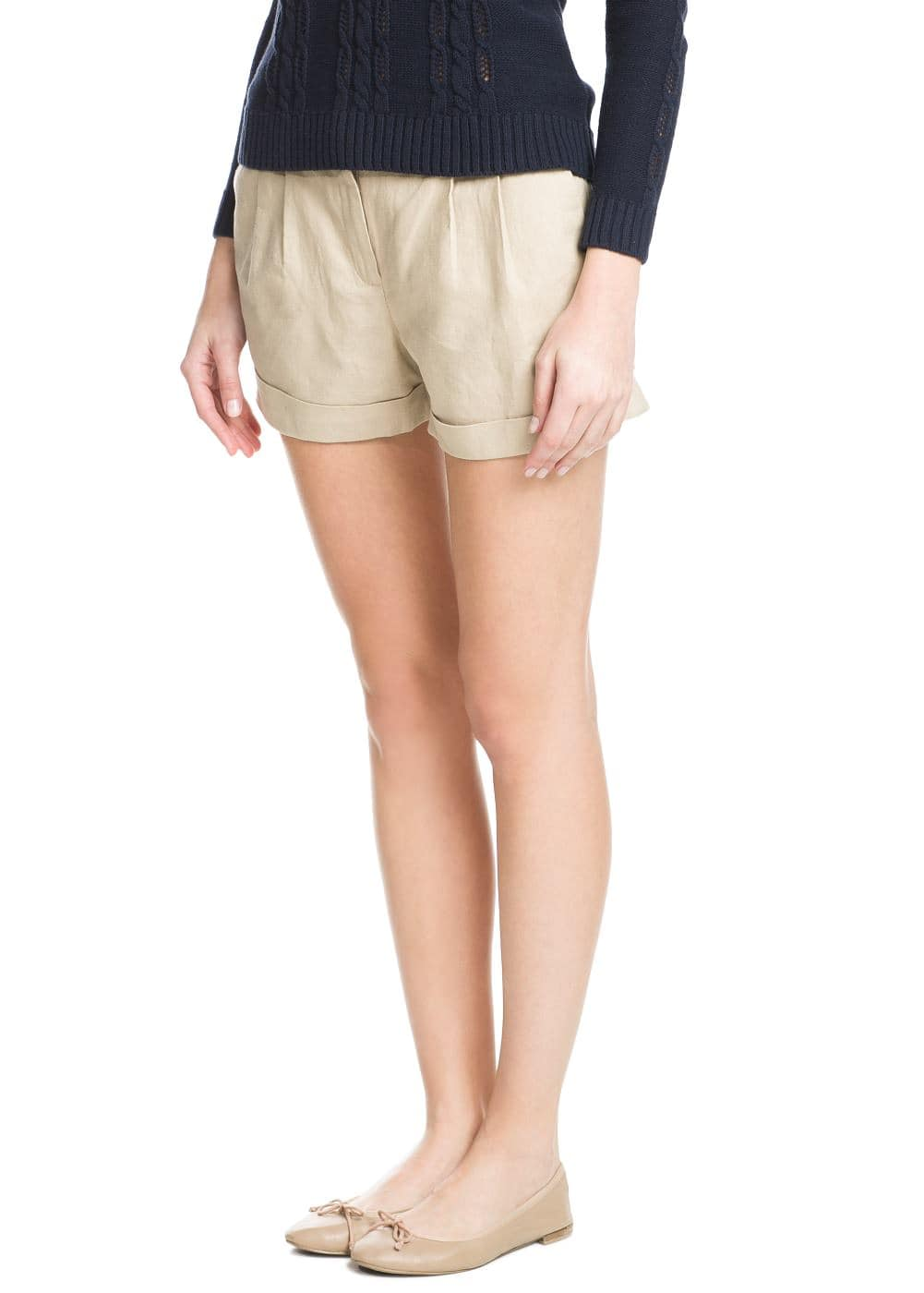 Cotton linen-blend shorts