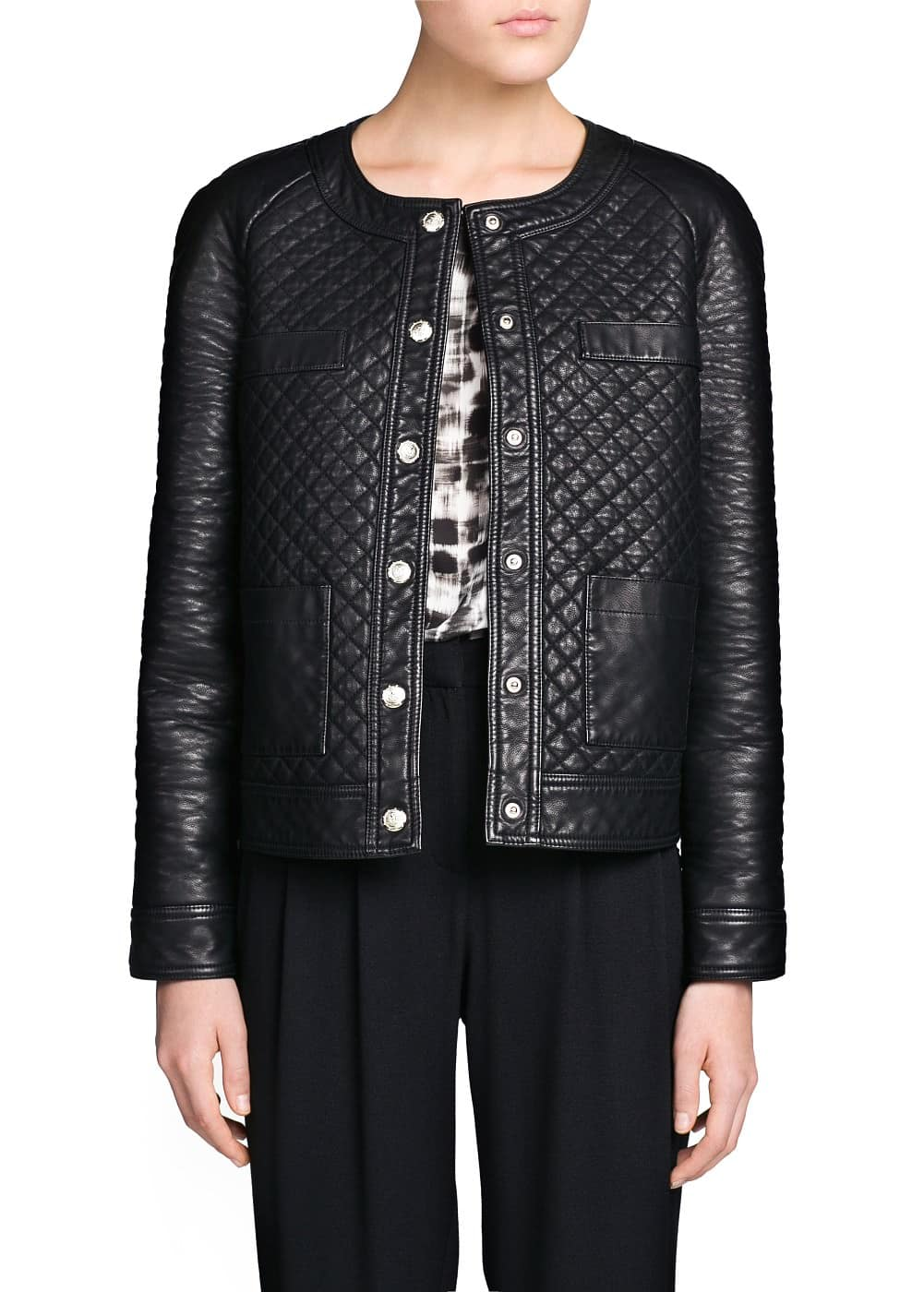 Metal button quilted jacket
