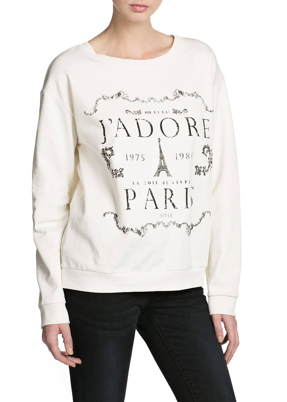 Printed message cotton sweatshirt | MANGO KIDS