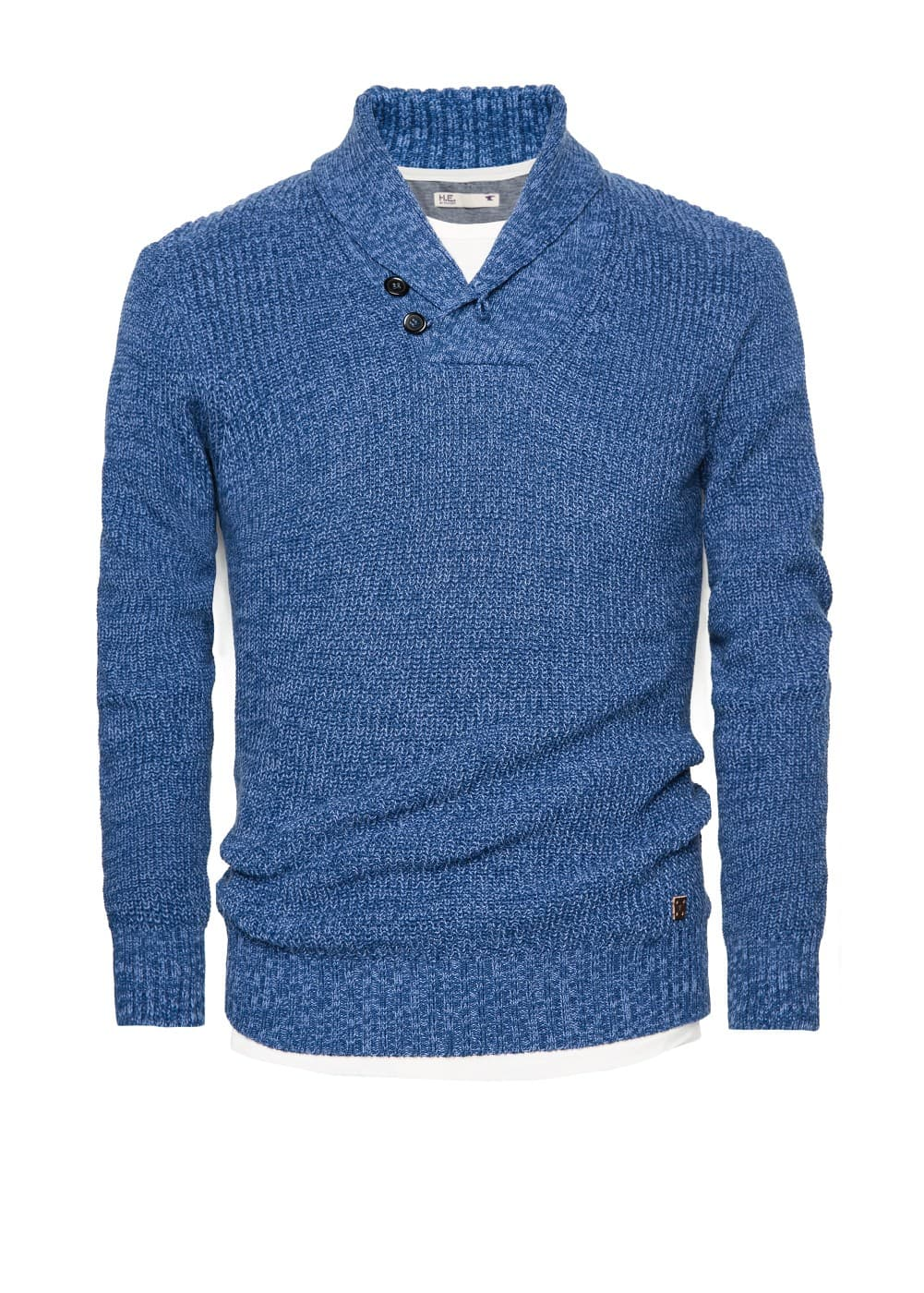 Shawl collar flecked sweater