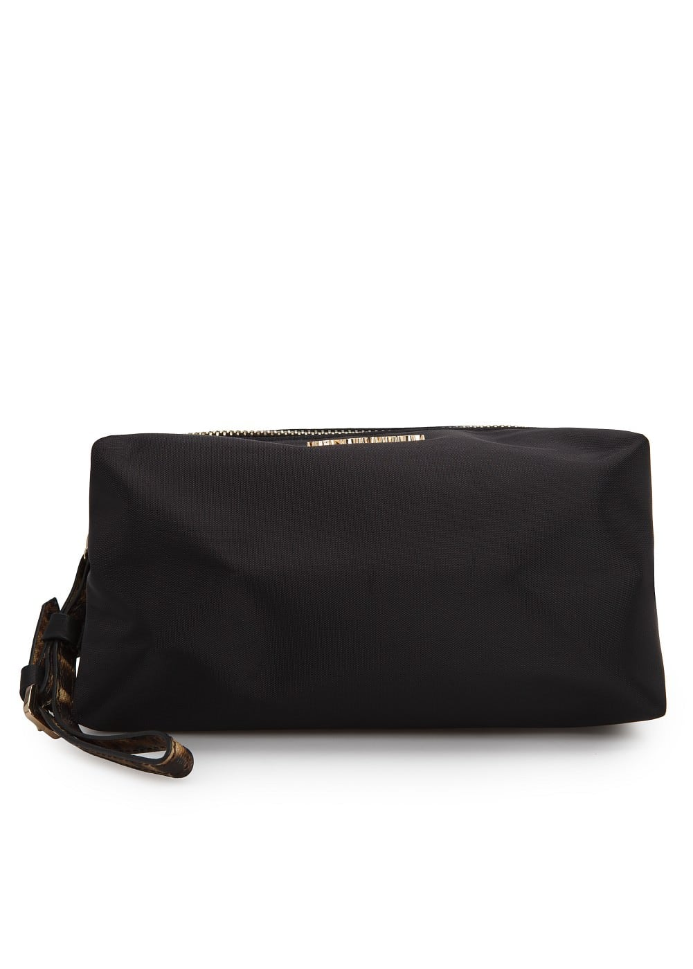Saffiano wristlet cosmetic bag