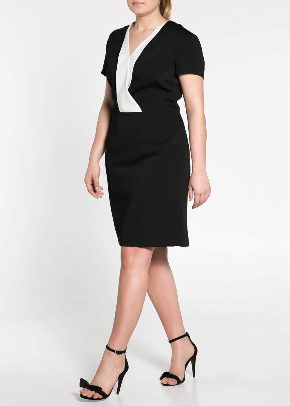 Contrast lapel dress | MANGO