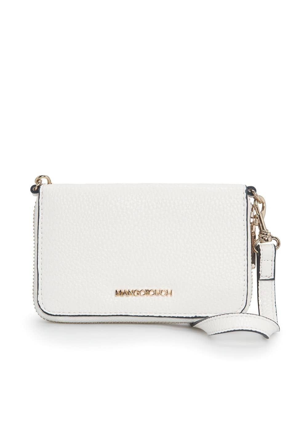 Detachable strap pebbled wallet
