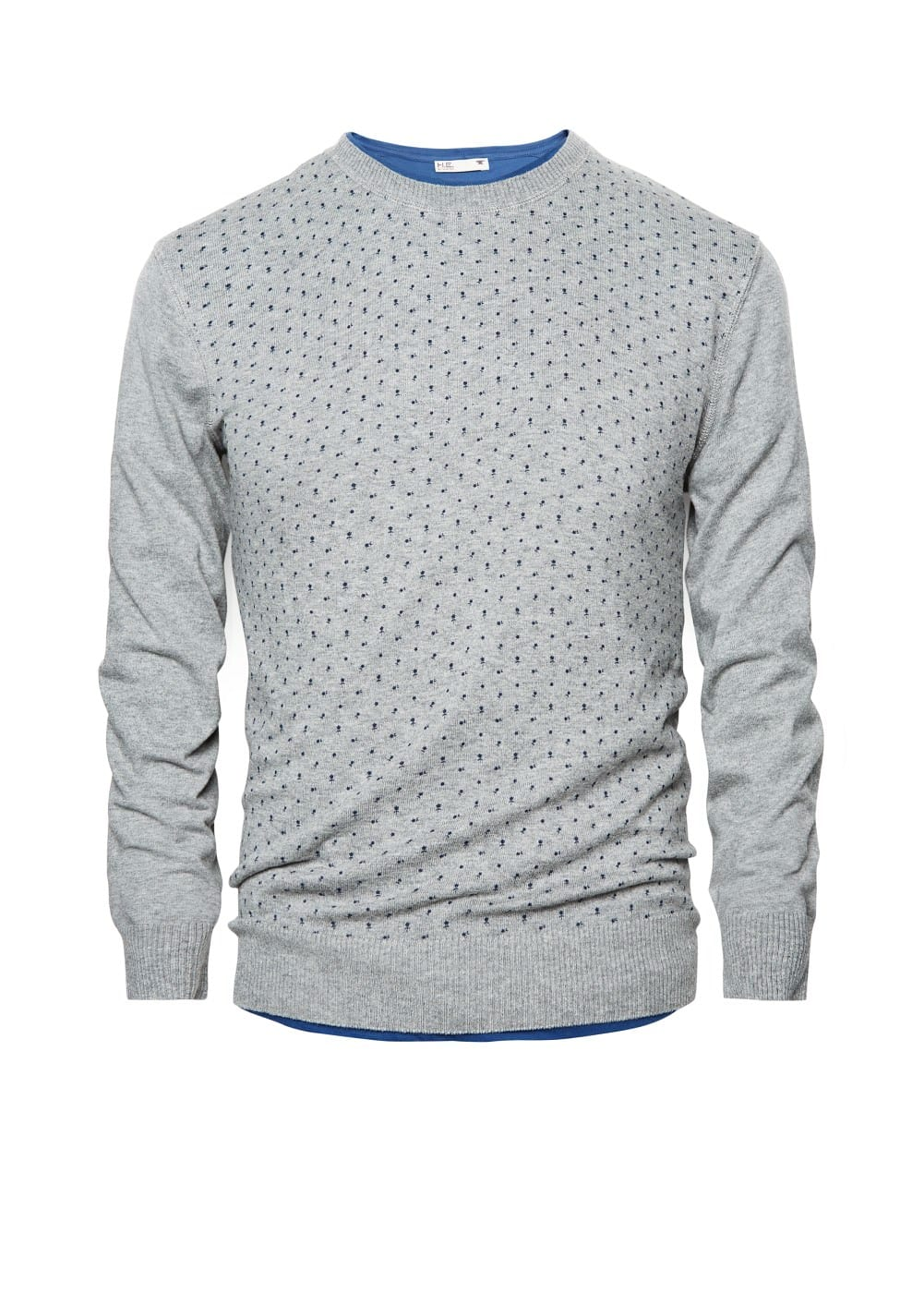 Flower-print cotton sweater | MANGO MAN