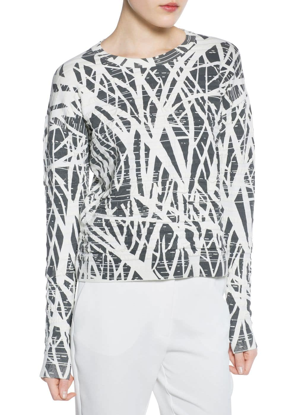 Printed textured sweater | MANGO