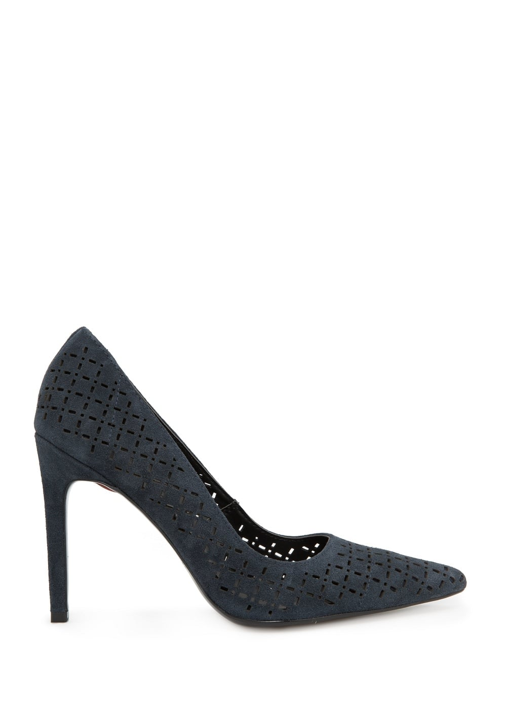 Laser-cut suede pumps