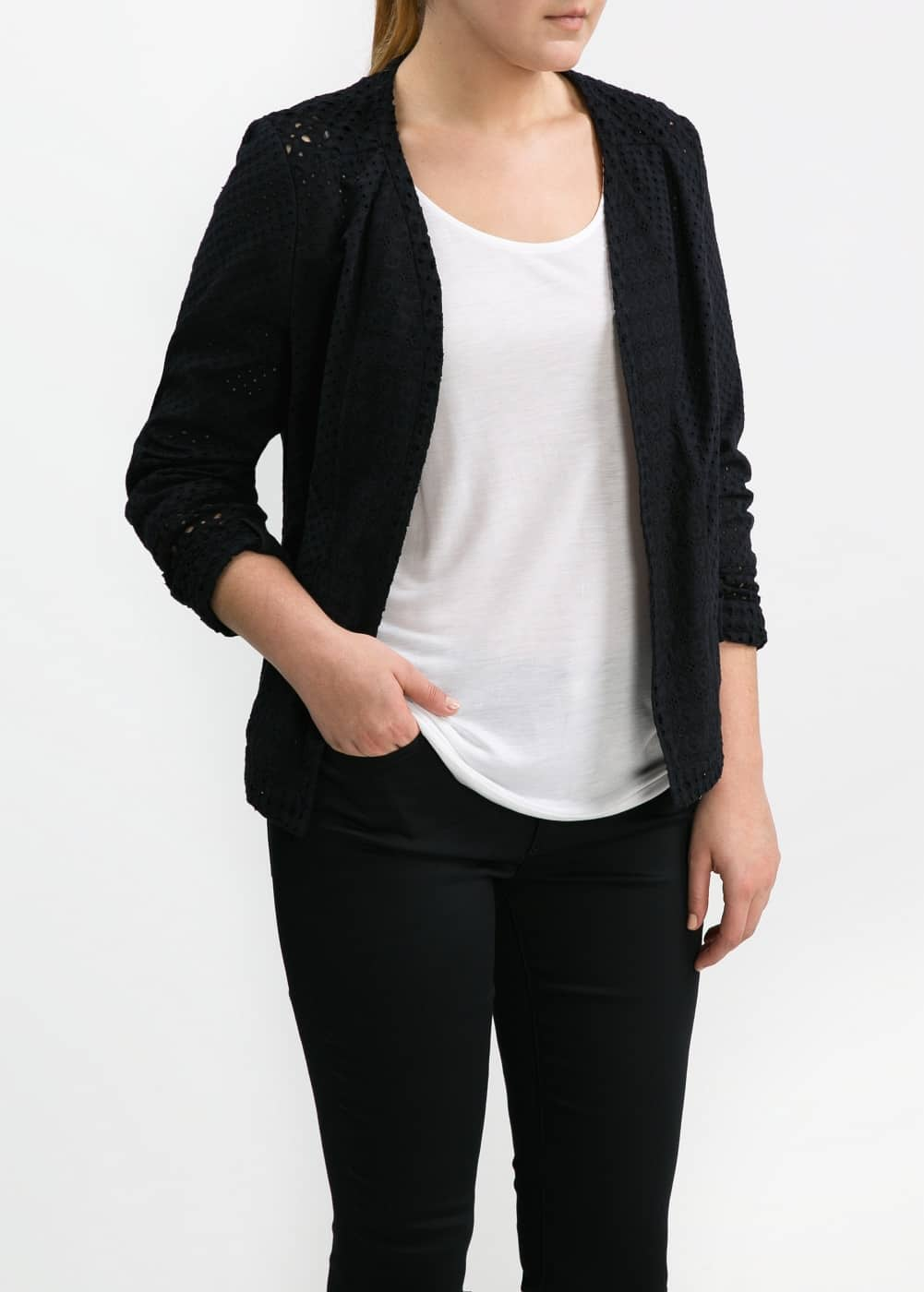 Contrast broderie anglaise jacket
