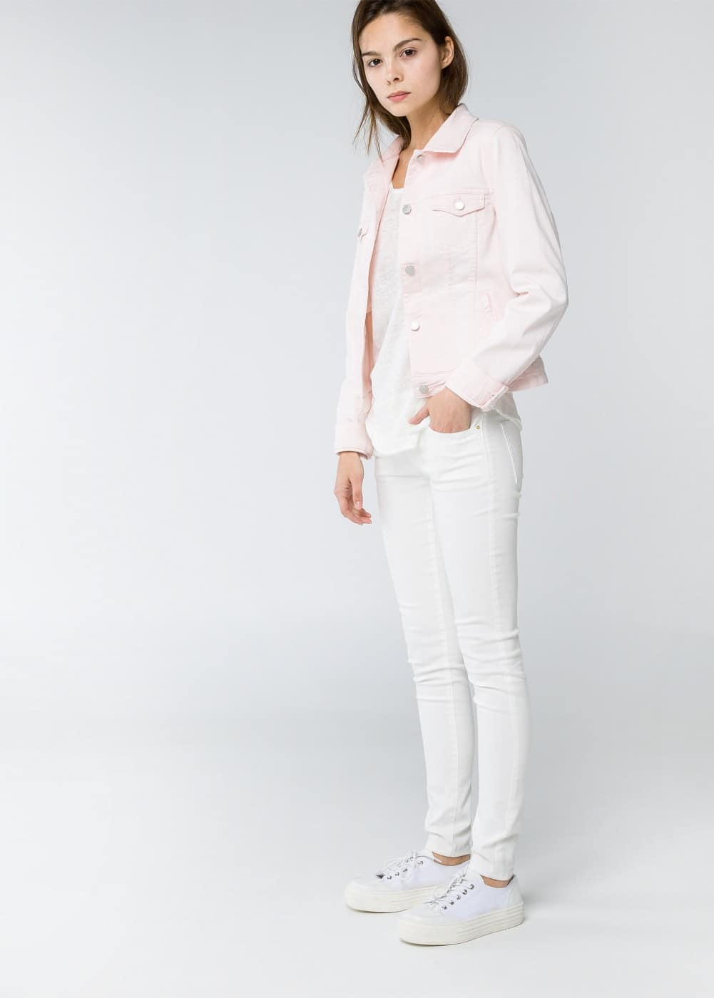 Blouson denim rose