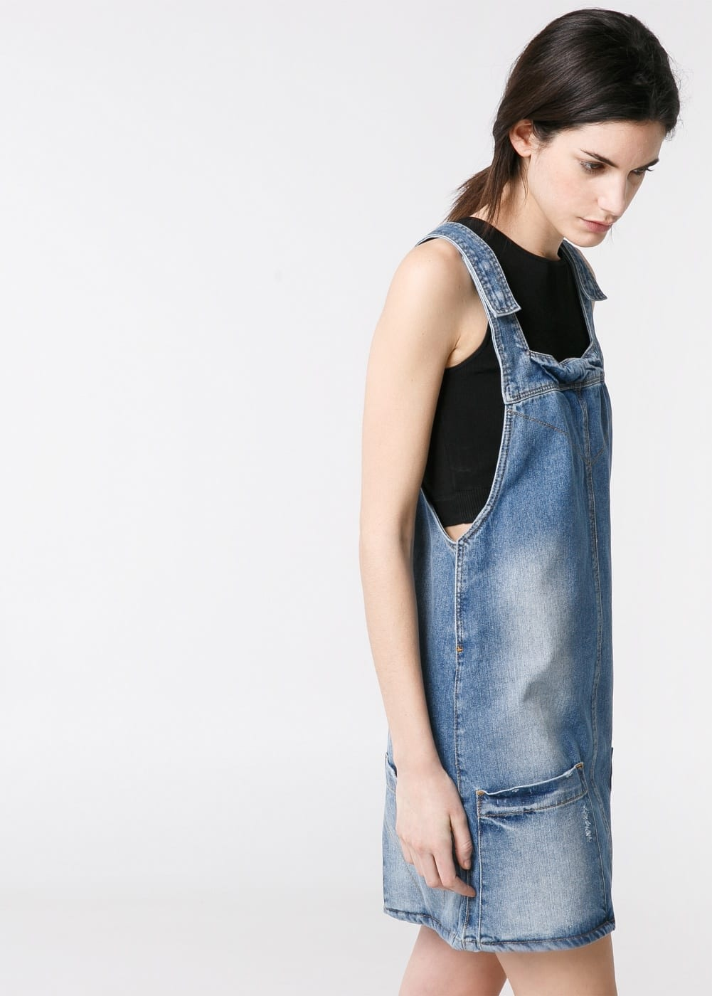 Denim pinafore dress | MANGO