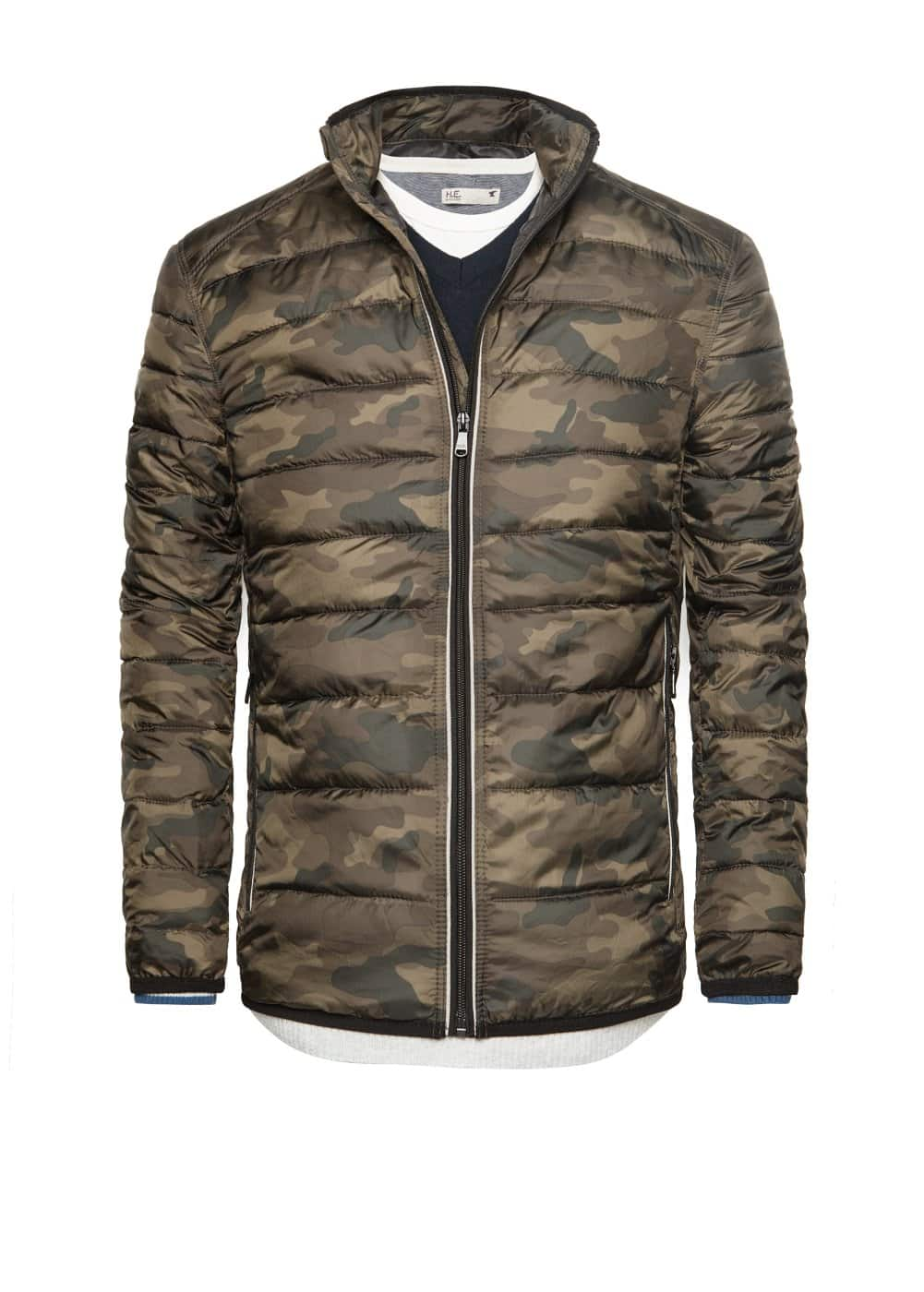 Camo-print quilted coat