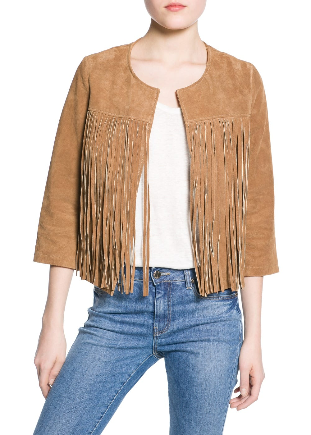 Fringed suede jacket | MANGO