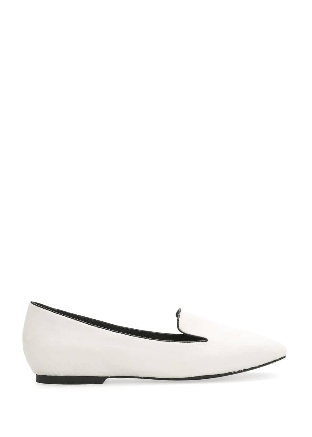 Contrast trim leather slippers | MANGO
