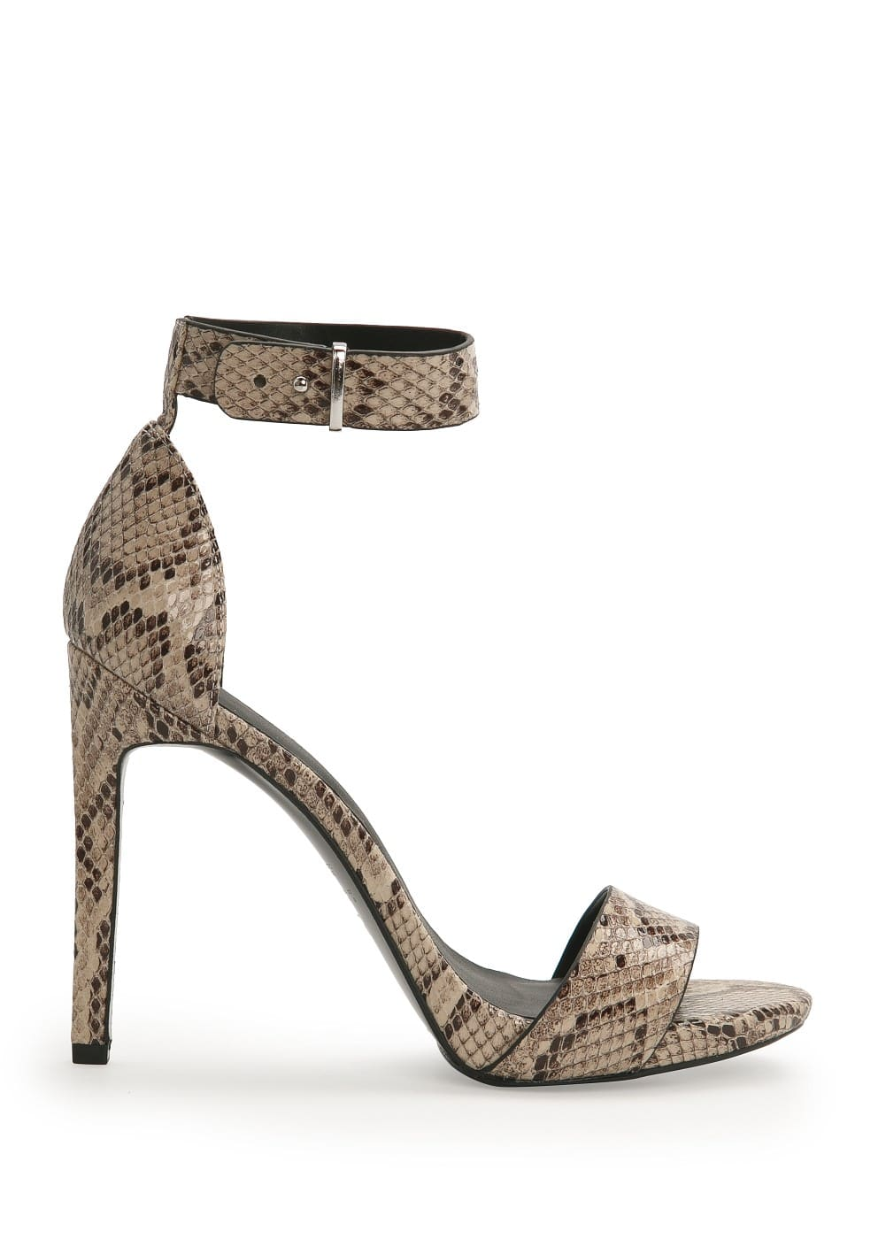 Metallic appliqué ankle-cuff sandal