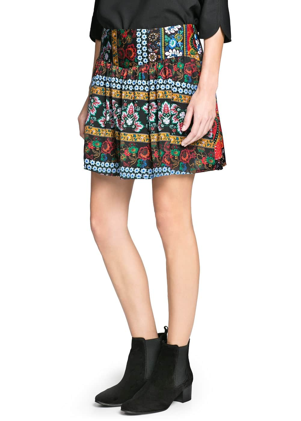Mixed print skirt
