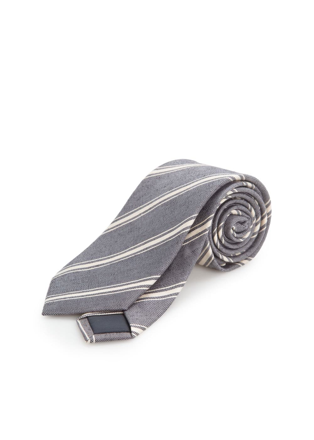 Silk linen-blend striped tie | MANGO