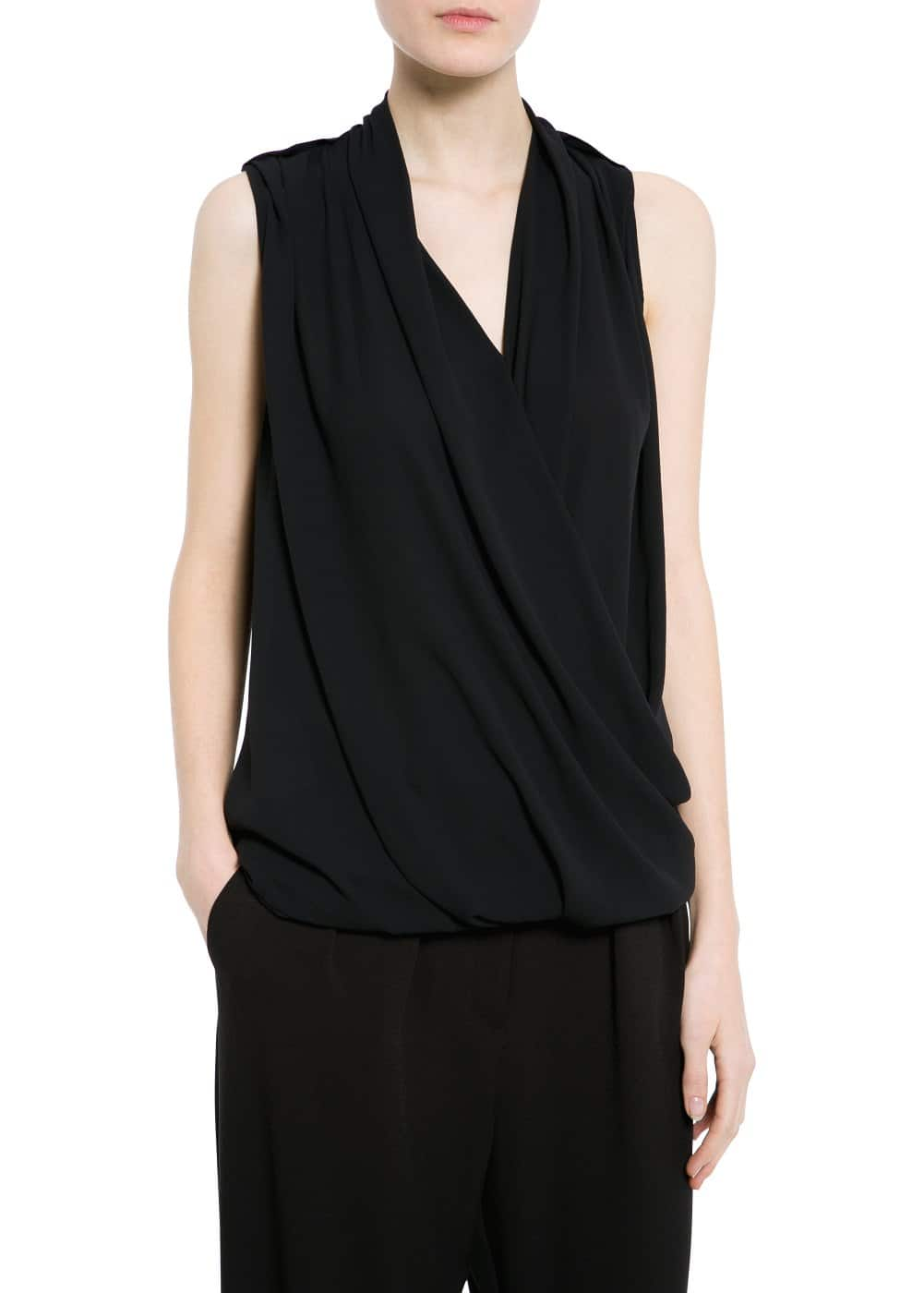 Draped chiffon top | MANGO