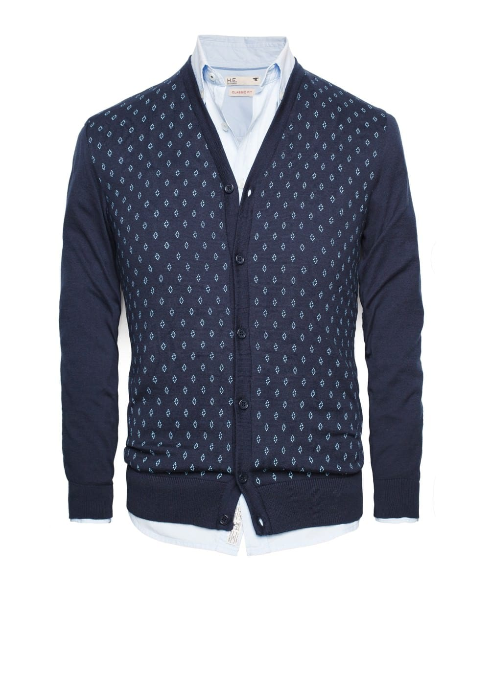 Rhombus print cotton cardigan