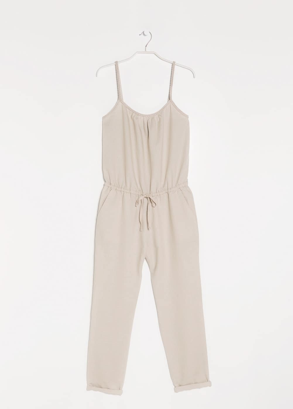 Cotton linen-blend jumpsuit | MANGO