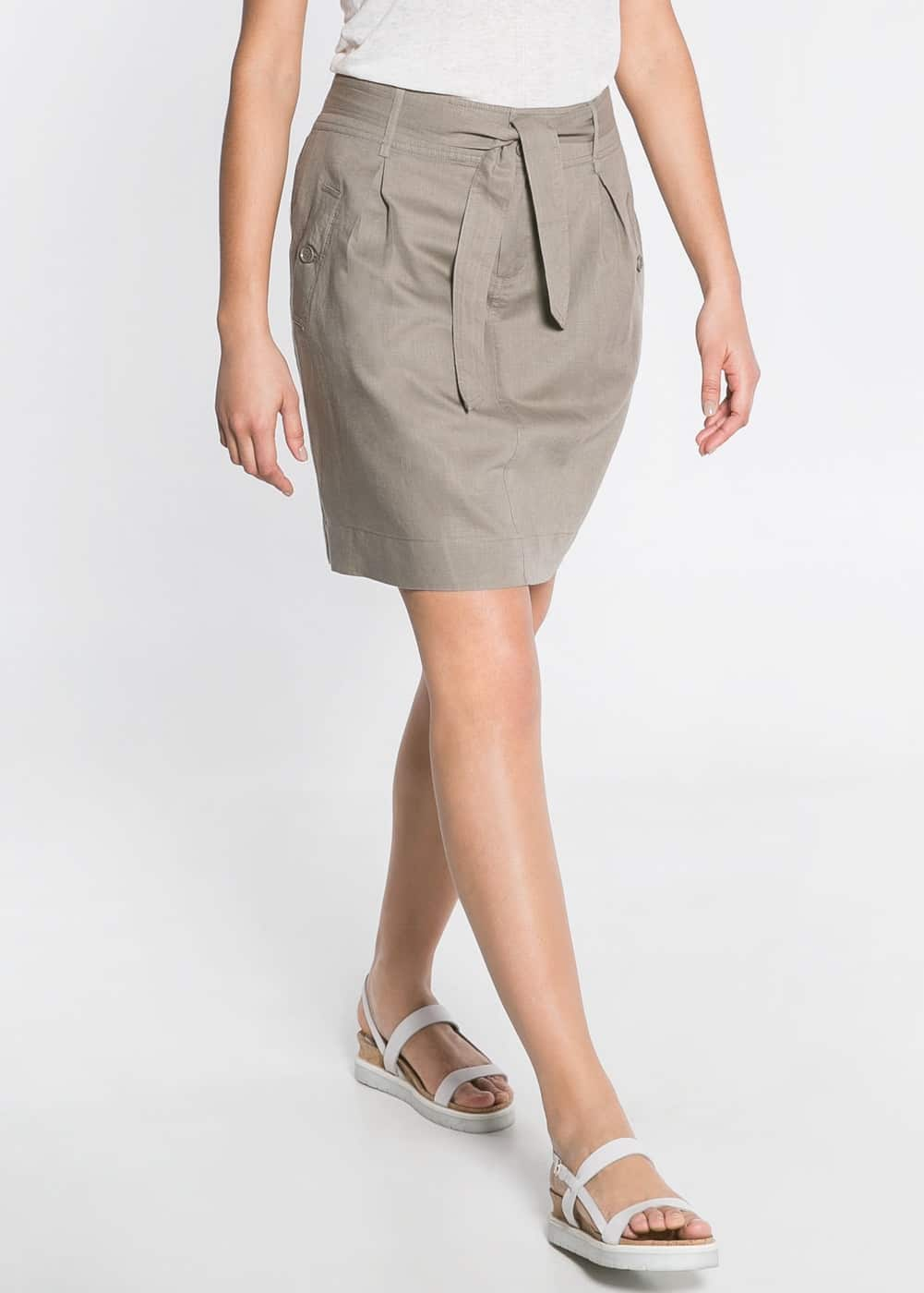 Cotton linen-blend skirt
