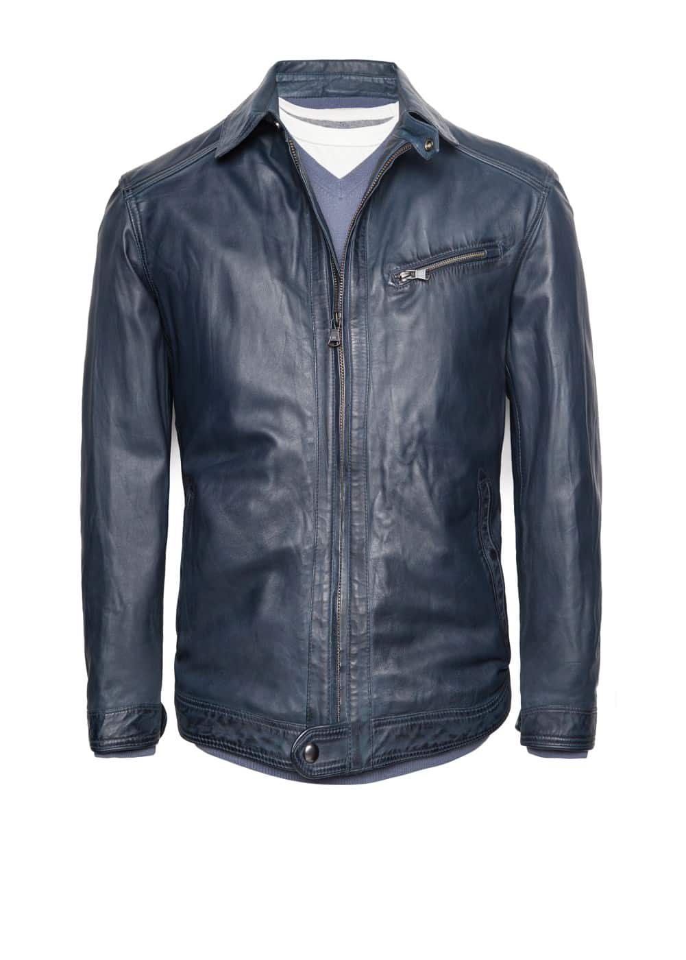 Leather aviator jacket | MANGO MAN