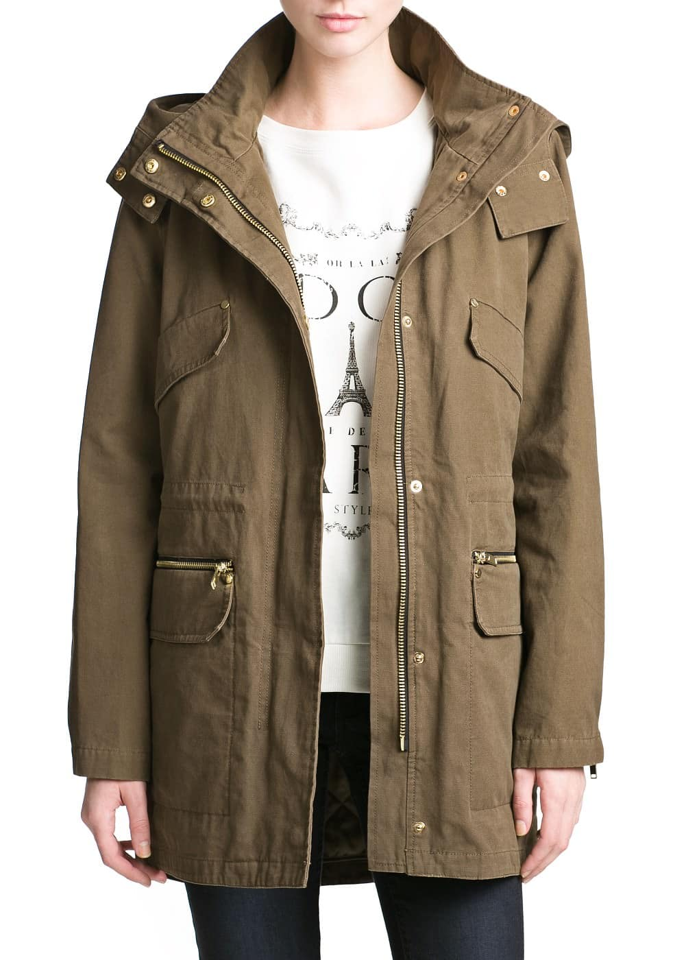 Faux leather appliqué parka