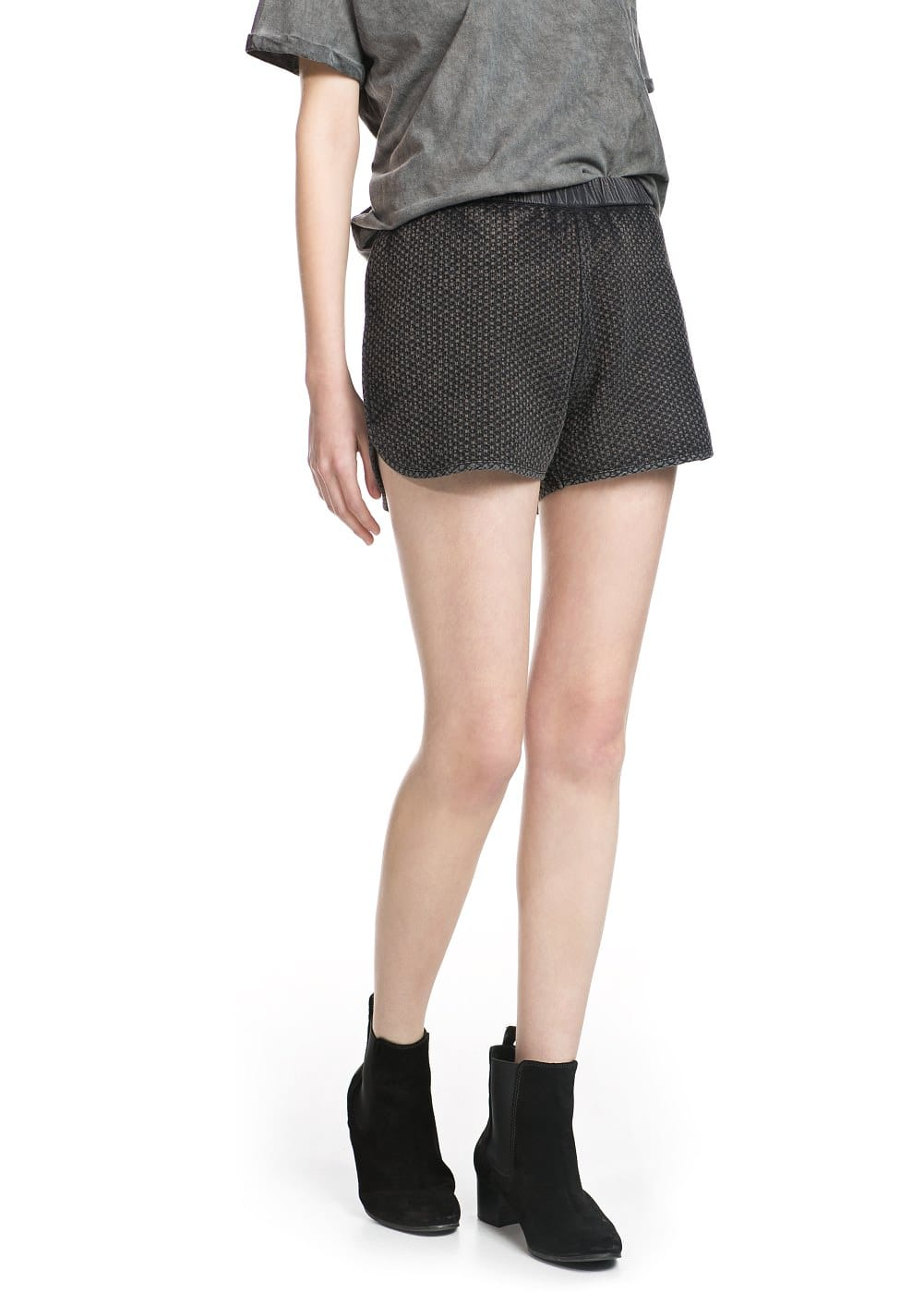 Washed textured shorts