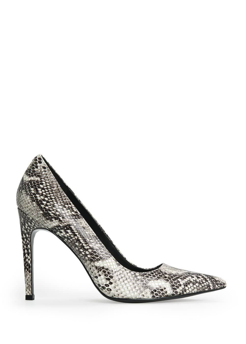 Snakeskin leather stiletto shoes