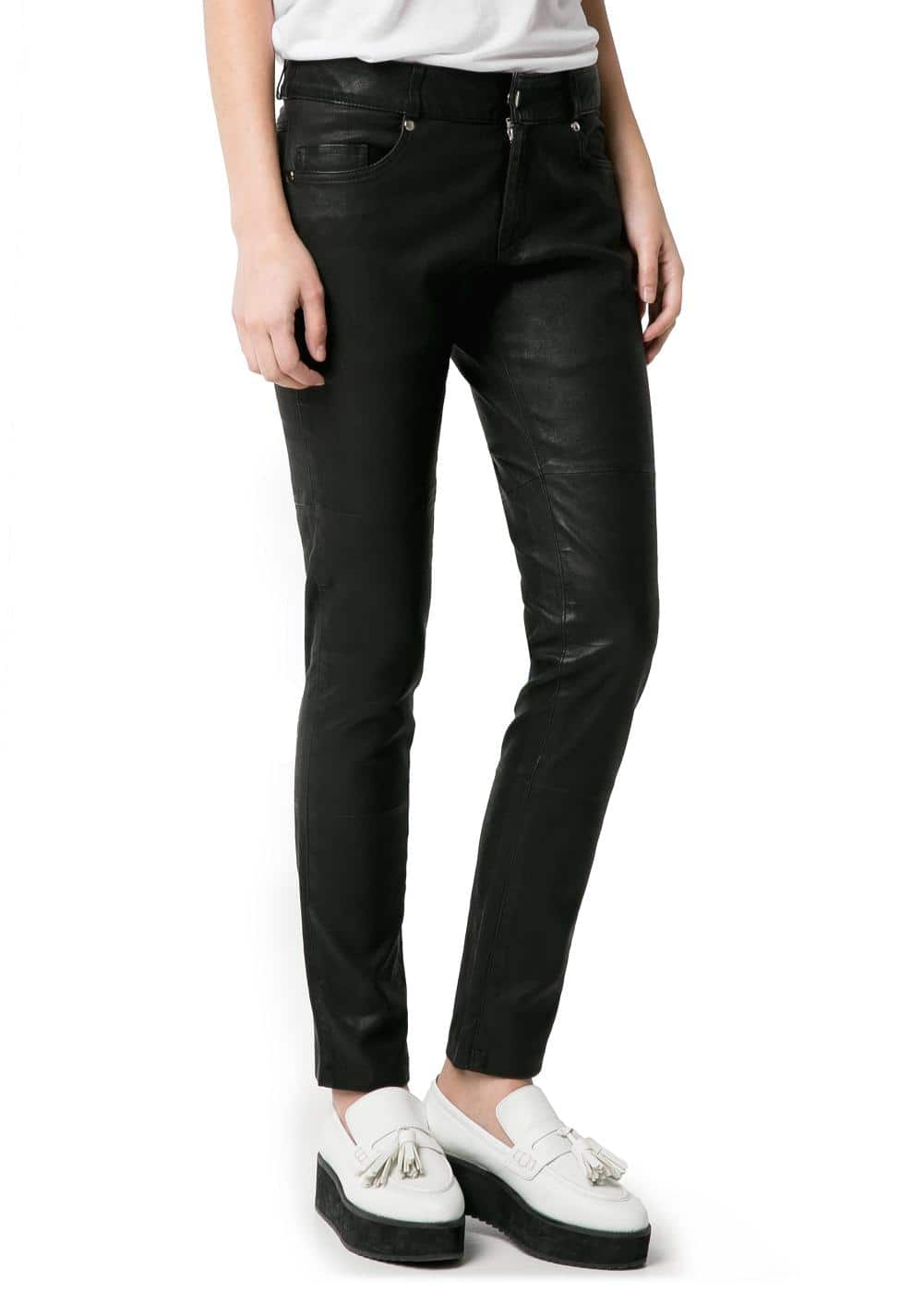 Slim-fit leather trousers