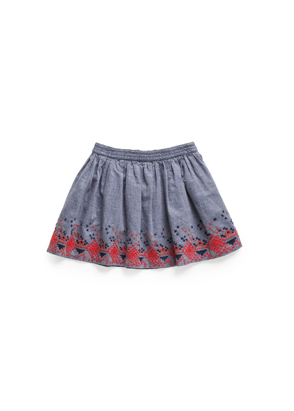 Embroidered chambray skirt