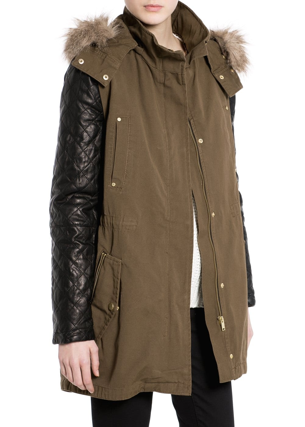 Leather sleeve parka | MANGO