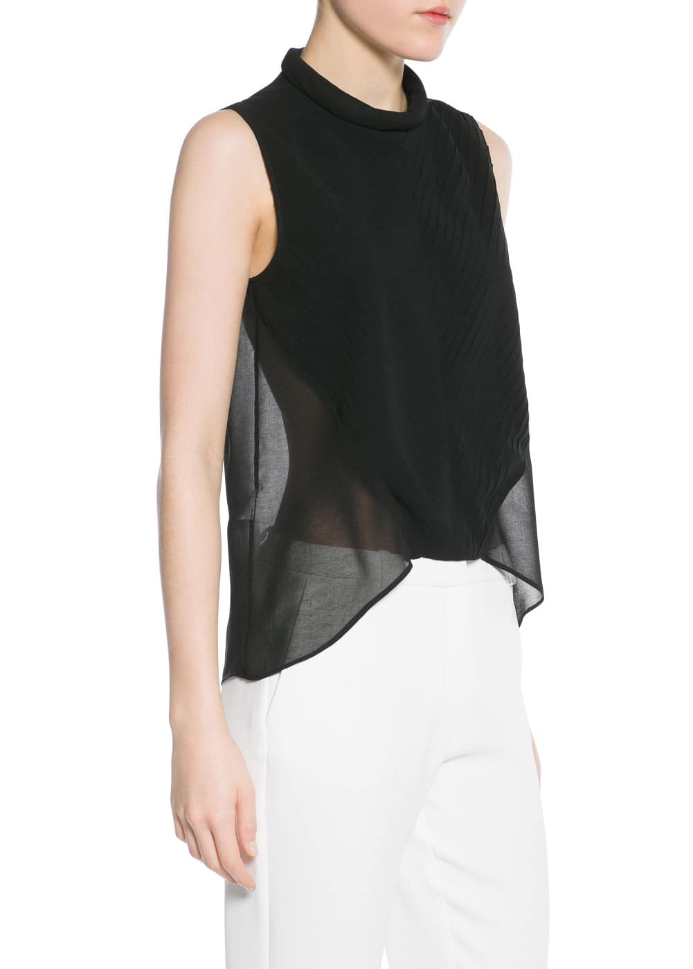 Pleated chiffon top | MANGO