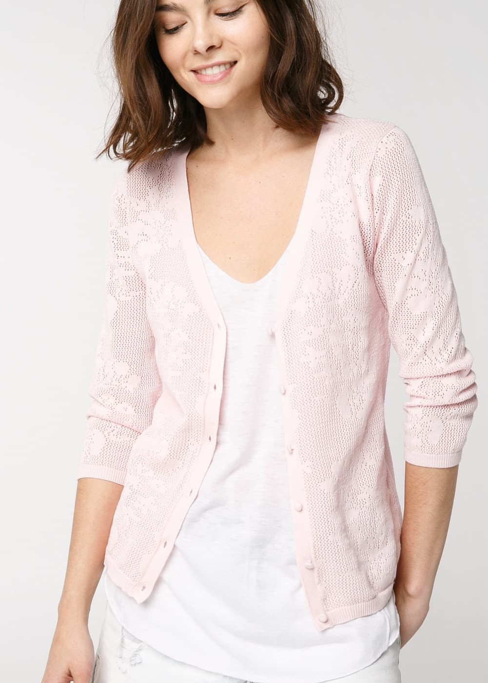 Flower-patterned openwork cardigan