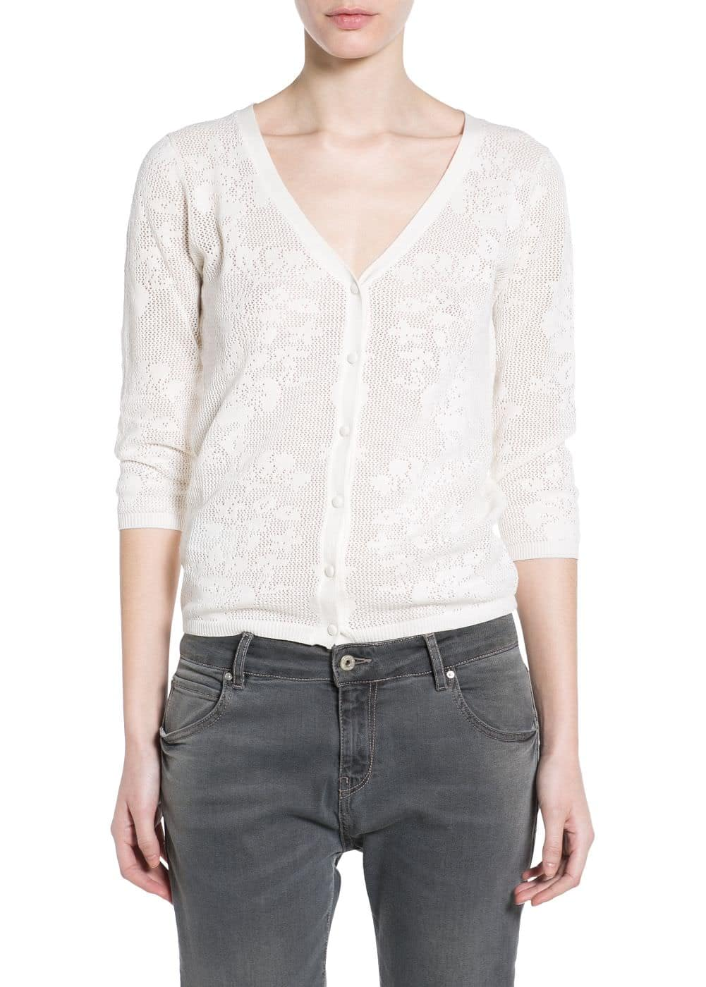 Flower-patterned openwork cardigan | MANGO