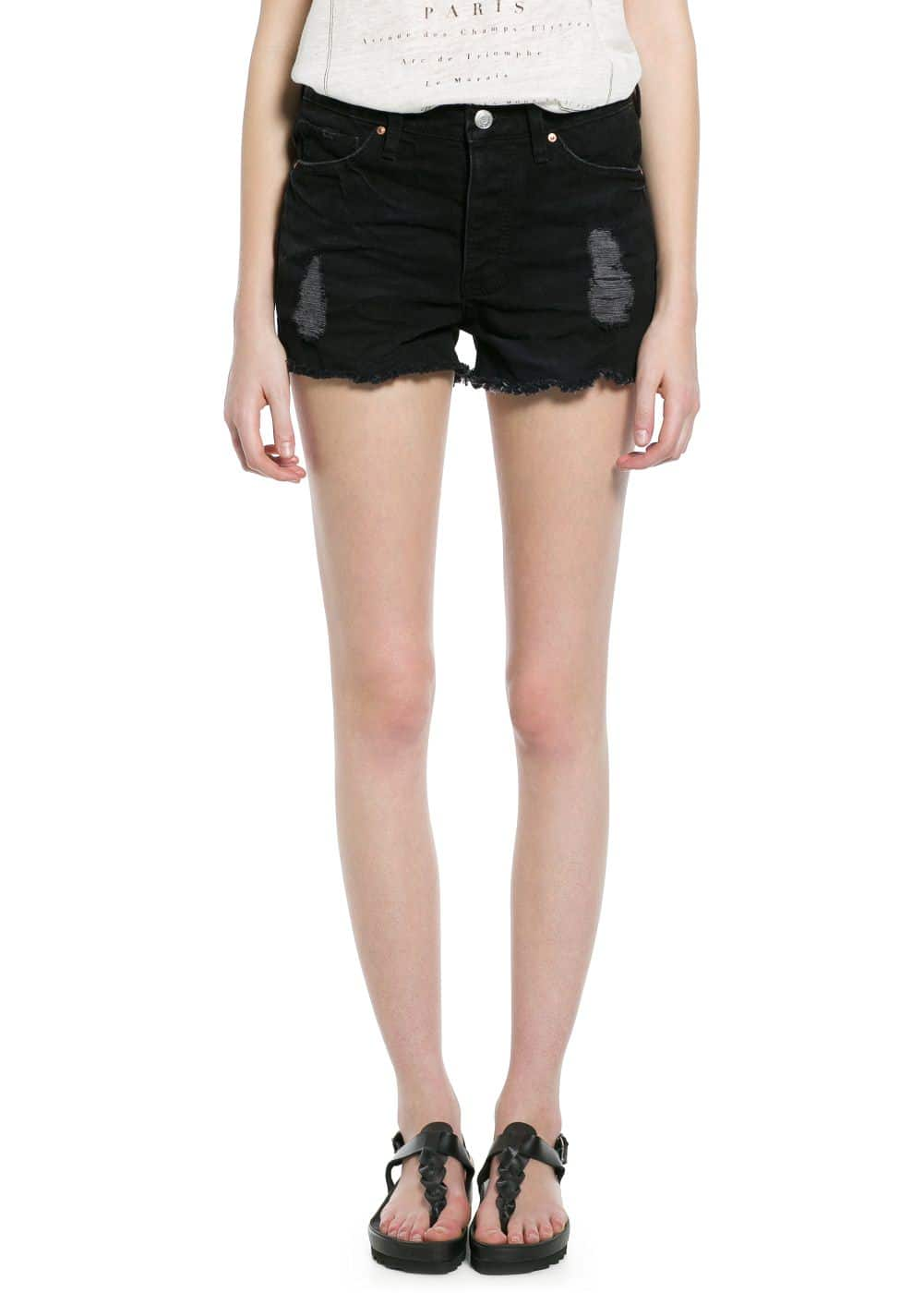 Black denim shorts | MANGO