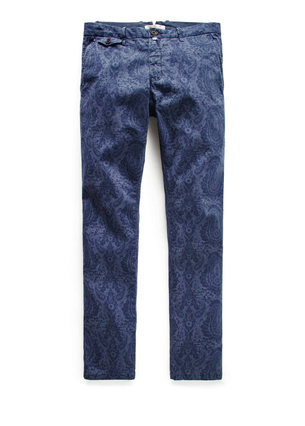 Slim-fit printed garment-dyed chinos