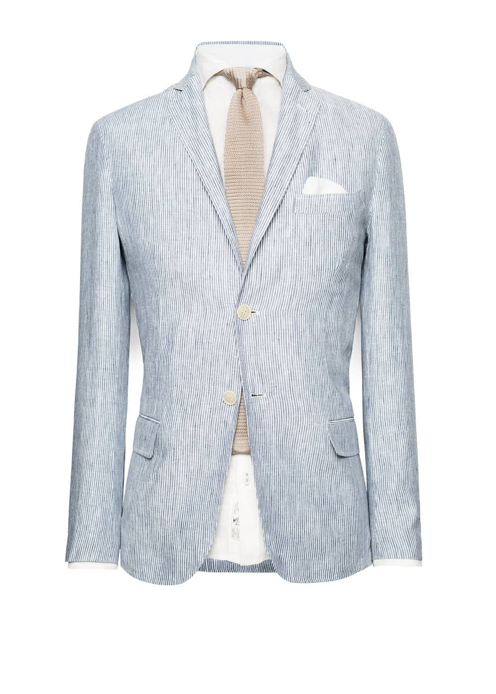 Unstructured striped linen blazer