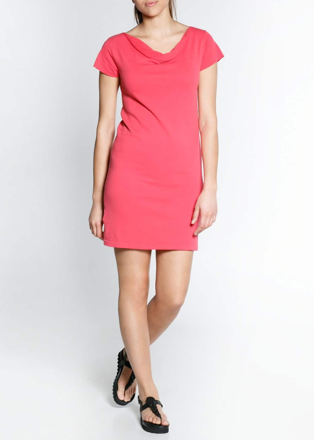 Draped neck jersey dress