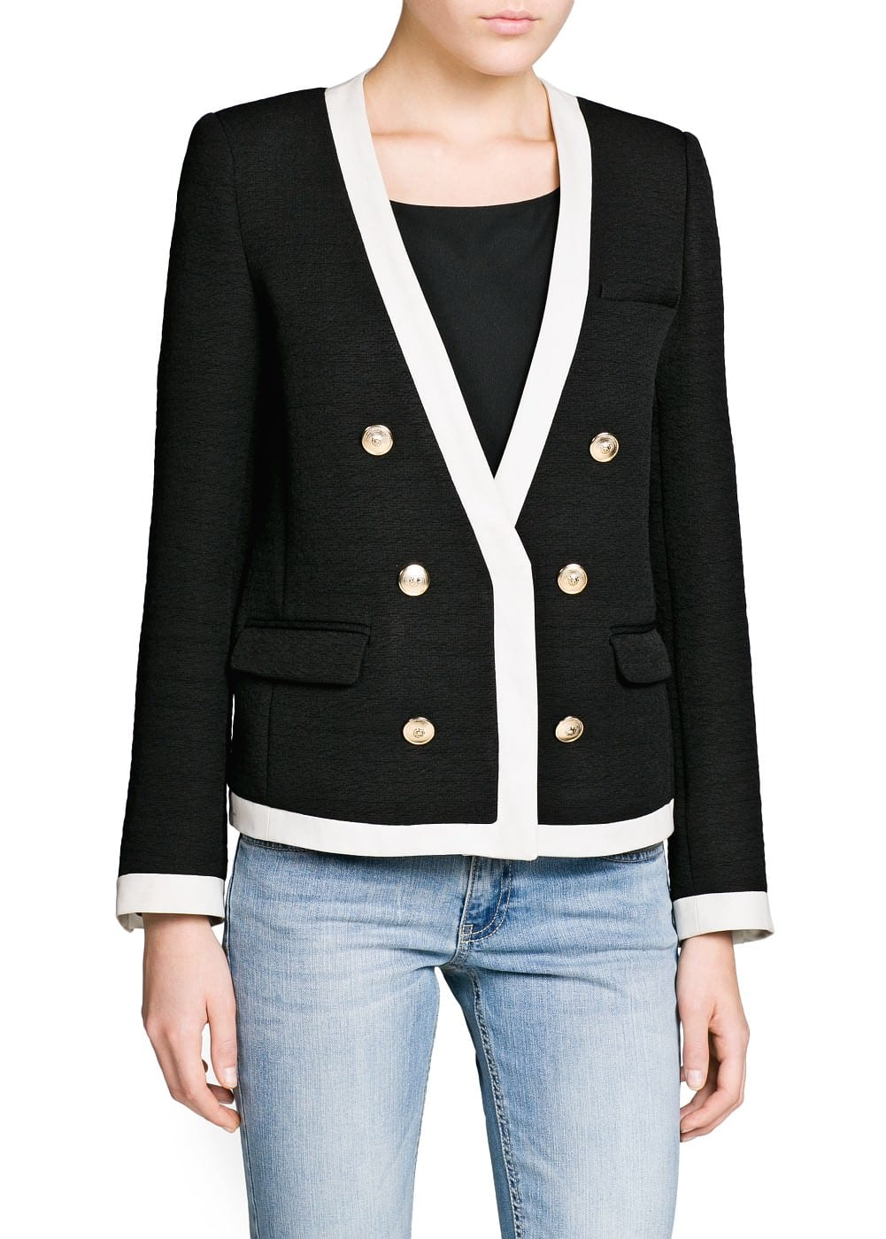 Contrast trim textured jacket | MANGO