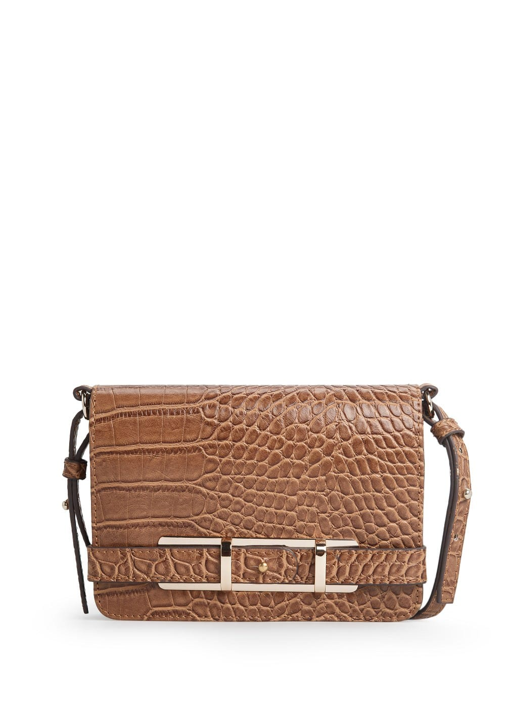 Croc-effect cross body bag