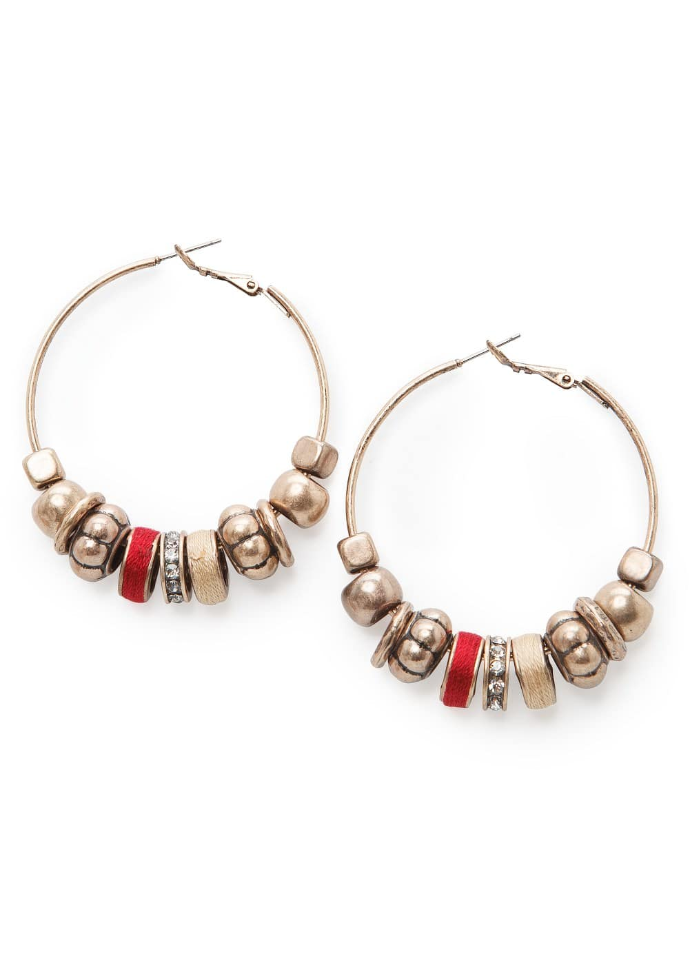 Beaded hoop earrings | MANGO