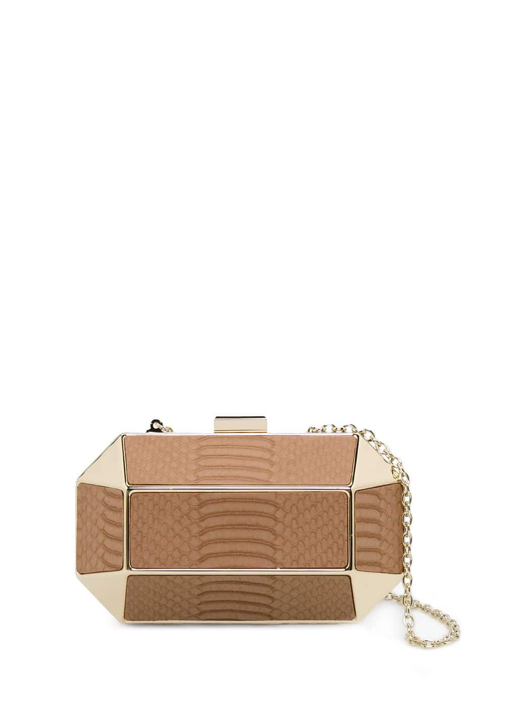 Crocodile-effect geometric box clutch | MANGO