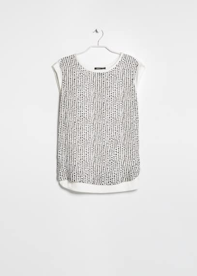 Chiffon panel t-shirt