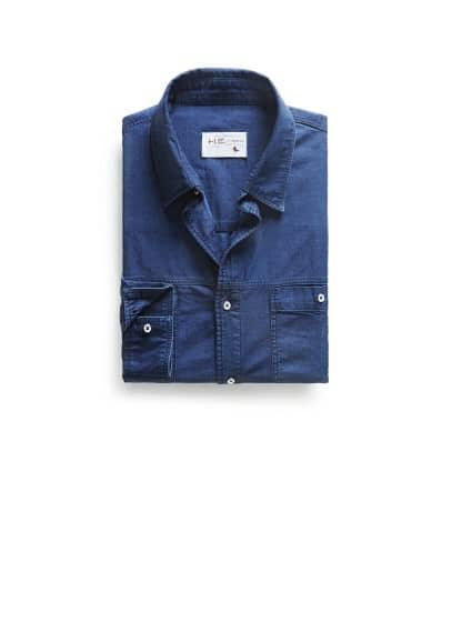 Camicia denim classic-fit color inchiostro