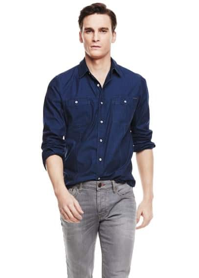 Camisa classic-fit denim tinta