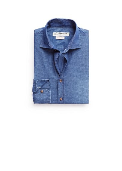 Camicia slim-fit chambray stampata