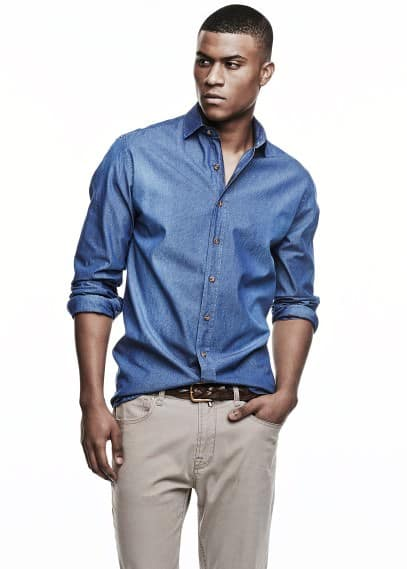 Chambray slim-fit overhemd met print