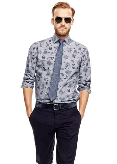 Camisa slim-fit riscas estampada