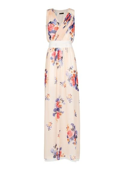 Floral print chiffon long dress